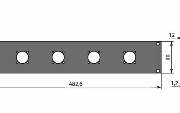 Panneau patch 1U – 4 embases 32 mm